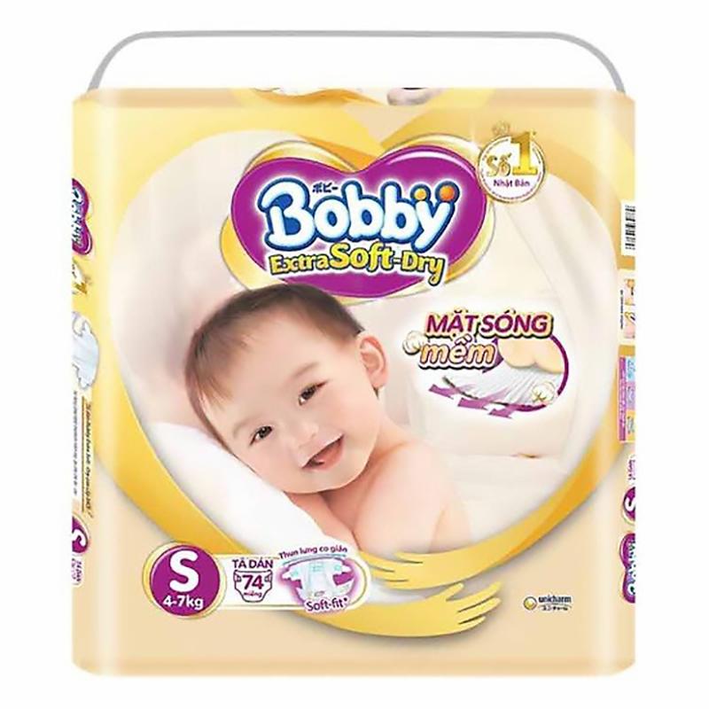Bỉm - Tã dán cao cấp Bobby Extra Soft-Dry size S - 74 miếng (4 - 8kg)