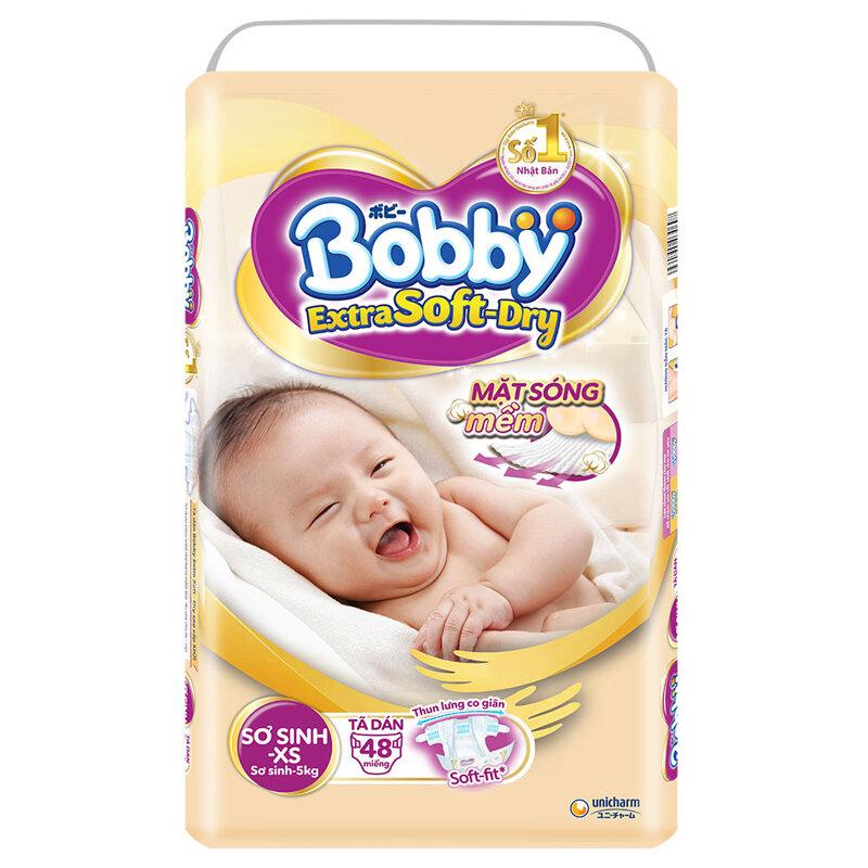 Bỉm - Tã dán cao cấp Bobby Extra Soft-Dry size XS - 48 miếng (< 5kg)