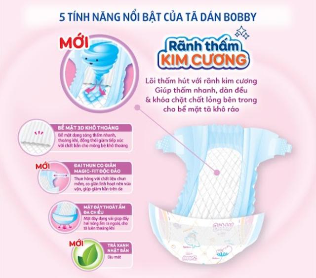 Bỉm - Tã dán sơ sinh Bobby Siêu thấm - Khô thoáng size XS - 72 miếng (Cho trẻ sơ sinh - 6kg)