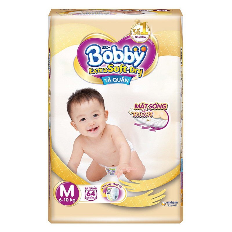 Bỉm - Tã quần Bobby Extra Soft-Dry size M - 64 miếng (6 - 10kg)
