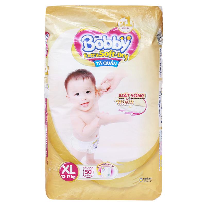 Bỉm - Tã quần Bobby Extra Soft-Dry size XL - 50 miếng (12 - 17kg)