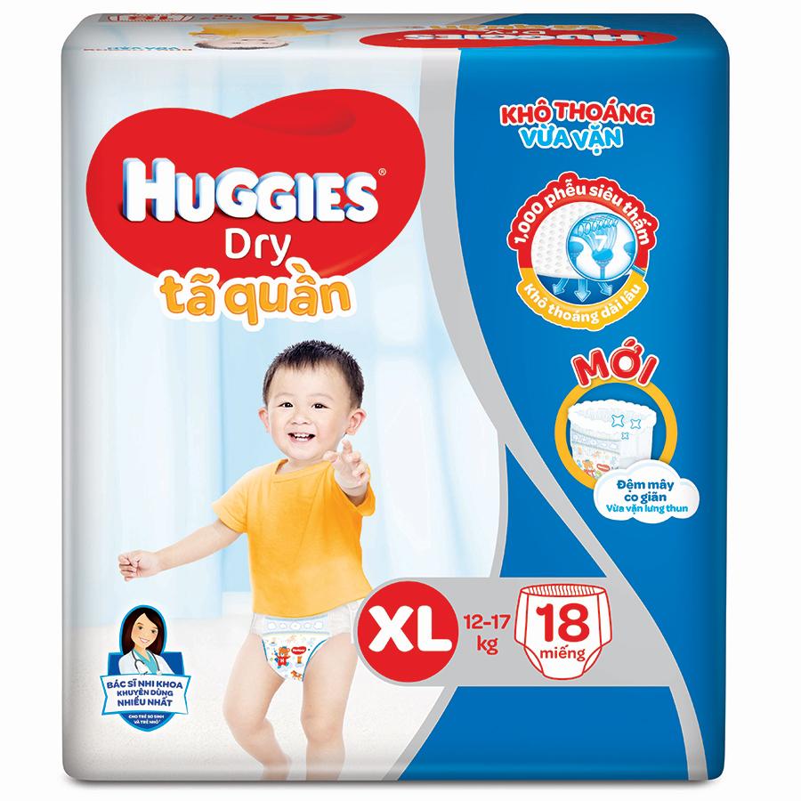 Bỉm - Tã quần Huggies size XL - 18 miếng (Cho bé 12 - 17kg)