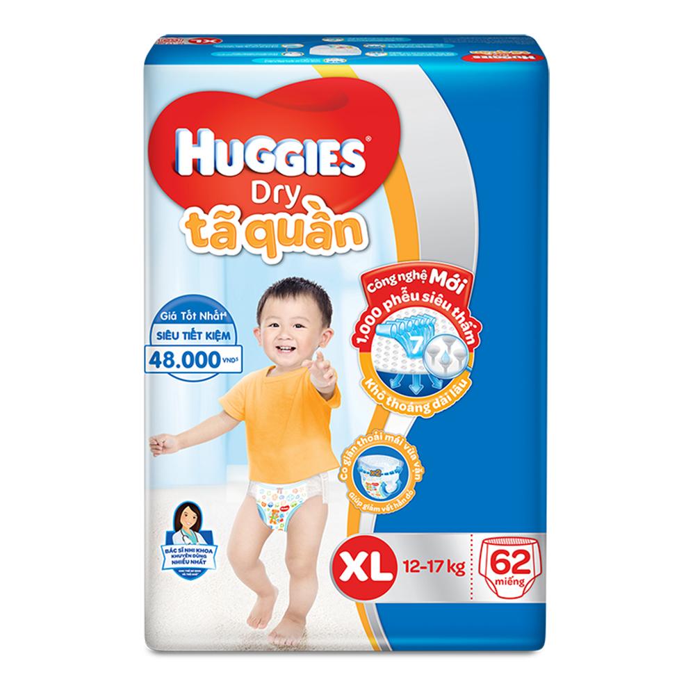 Bỉm - Tã quần Huggies size XL - 62 miếng (Cho bé 12 - 17kg)