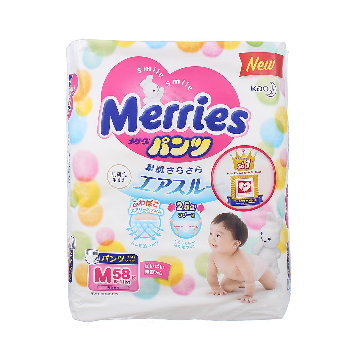 Bỉm - Tã quần Merries size M - 58 miếng (cho bé 6 - 11kg)