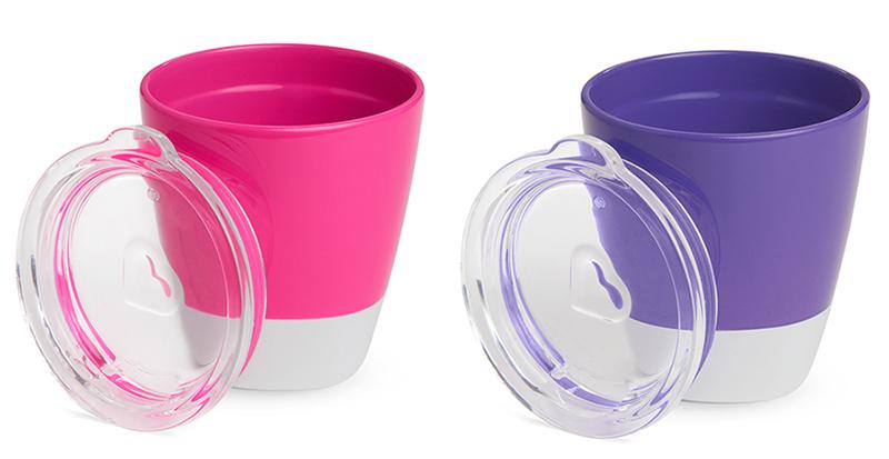 Bộ 2 cốc có nắp Munchkin 207ml màu hồng + tím