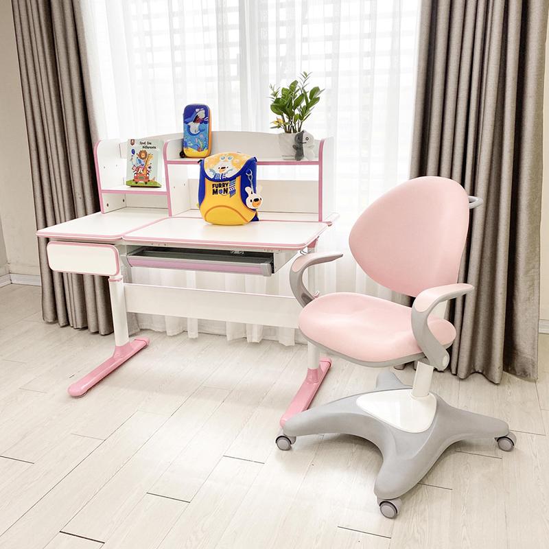 Bộ bàn ghế chống gù chống cận xuất Hàn Luxury màu hồng