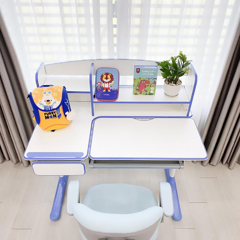 Bộ bàn học chống gù chống cận xuất Hàn Luxury màu xanh