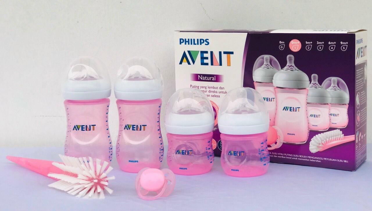 Bộ bình sữa thiết kế tự nhiên Philips Avent màu hồng SCD290/13