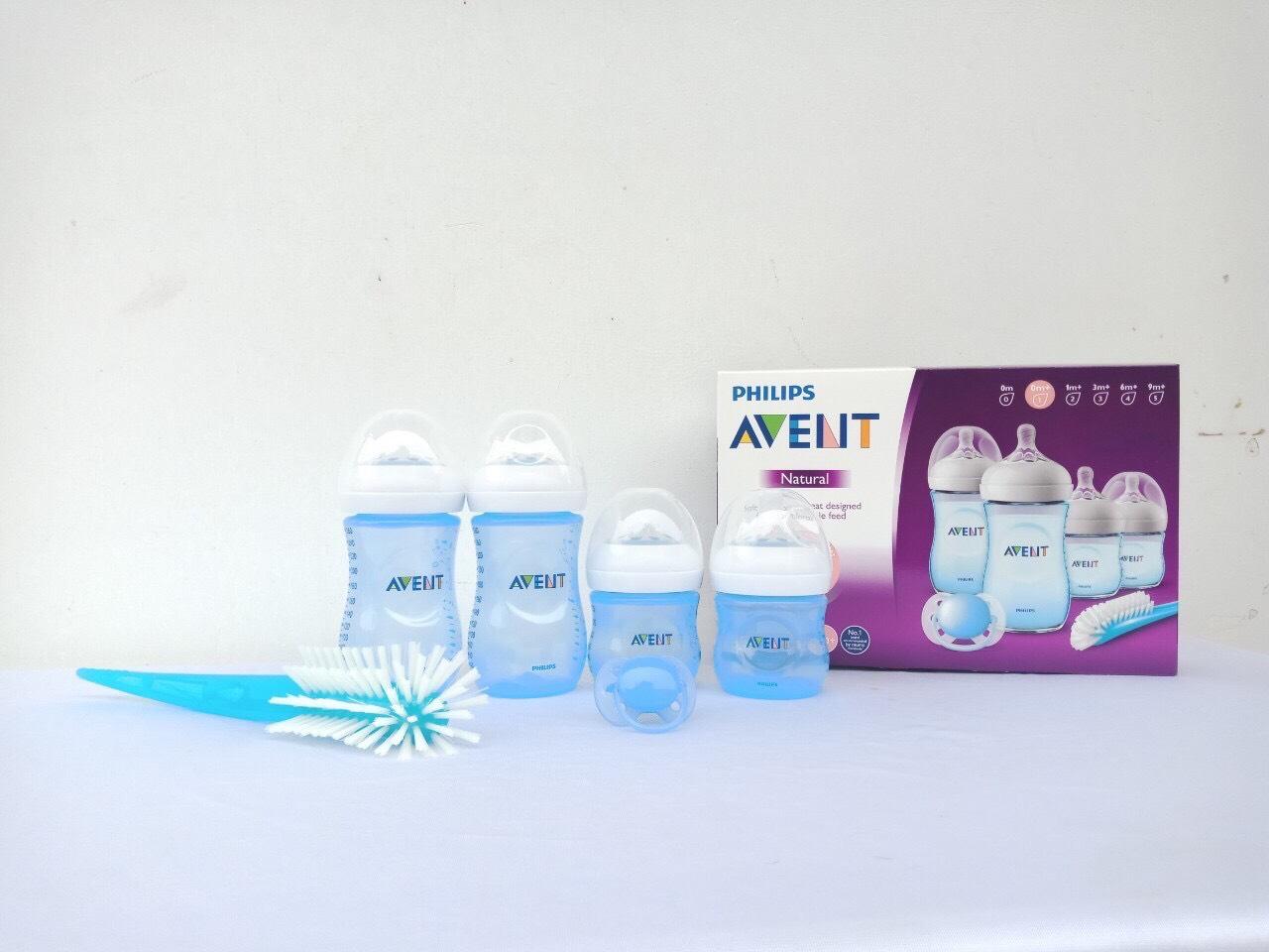 Bộ bình sữa thiết kế tự nhiên Philips Avent màu xanh SCD290/14