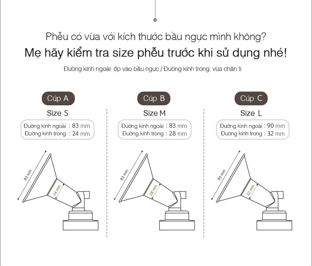 Bộ phụ kiện tiêu chuẩn dành cho máy hút sữa Spectra (Cổ rộng, phễu size 16,20,24,28)
