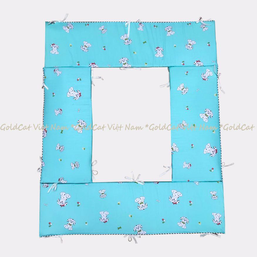Bộ quây cũi và ga vải bọc đệm cho bé (72x110,Chó Cún Xanh)