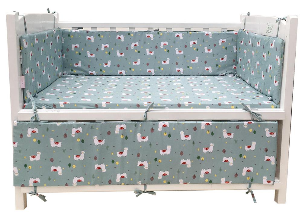 Bộ quây cũi và ga vải bọc đệm cho bé GoldCat - Chất liệu thô lụa (Cừu trắng, 72x110)