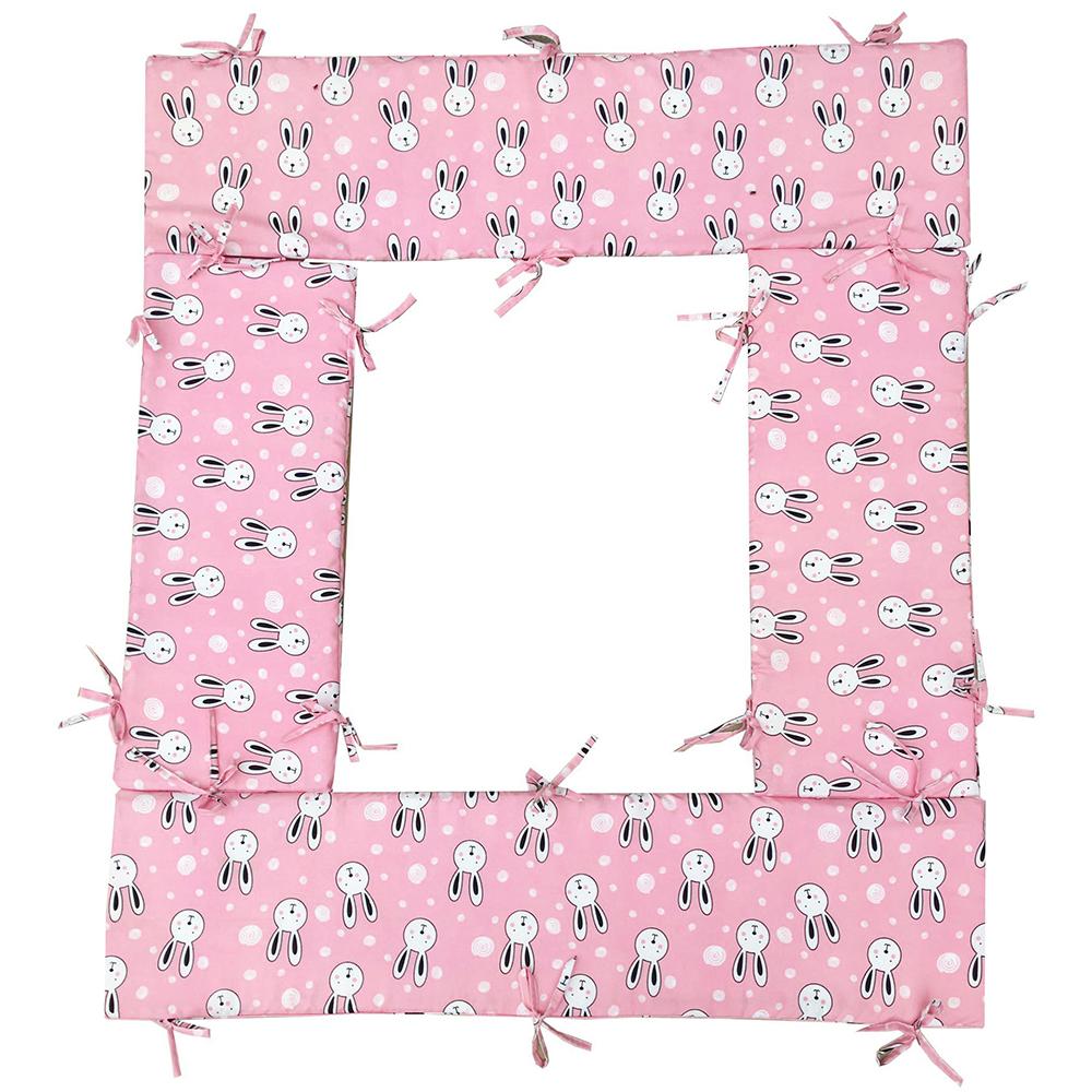 Bộ quây cũi và ga vải bọc đệm cho bé- Chất liệu thô lụa (Thỏ kẹo, 62x100)