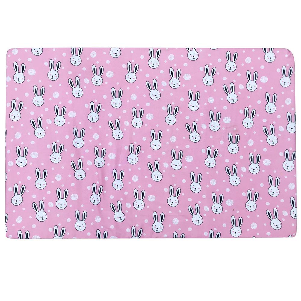 Bộ quây cũi và ga vải bọc đệm cho bé- Chất liệu thô lụa (Thỏ kẹo, 72x110)