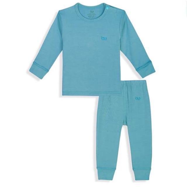 BB001.xanh đậm- Bộ dài tay cài vai quần dài BU