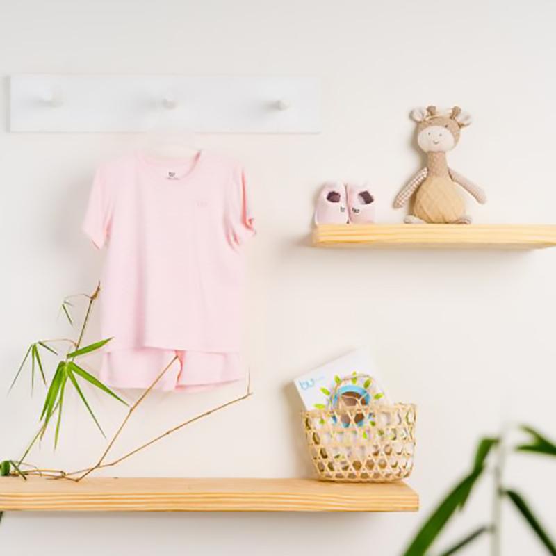 BB004. Pink - Bộ áo ngắn tay cài vai quần đùi - Bu