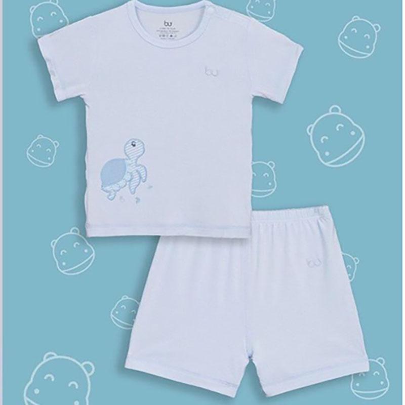 BB004. blue- Bộ áo ngắn tay cài vai quần đùi Blue- Bu