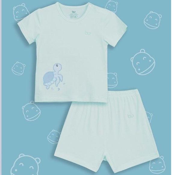BB004. mint- Bộ áo ngắn tay cài vai quần đùi mint- Bu