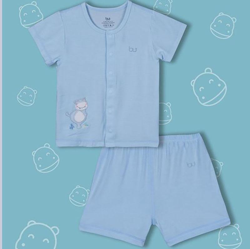 BB010. Blue- Set đồ đùi tay ngắn cúc giữa cho bé- Bu