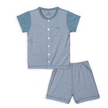 BB010. green- Set đồ đùi tay ngắn cúc giữa cho bé- Bu