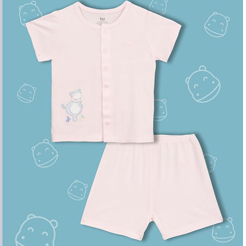 BB010. pink- Set đồ đùi tay ngắn cúc giữa cho bé- Bu