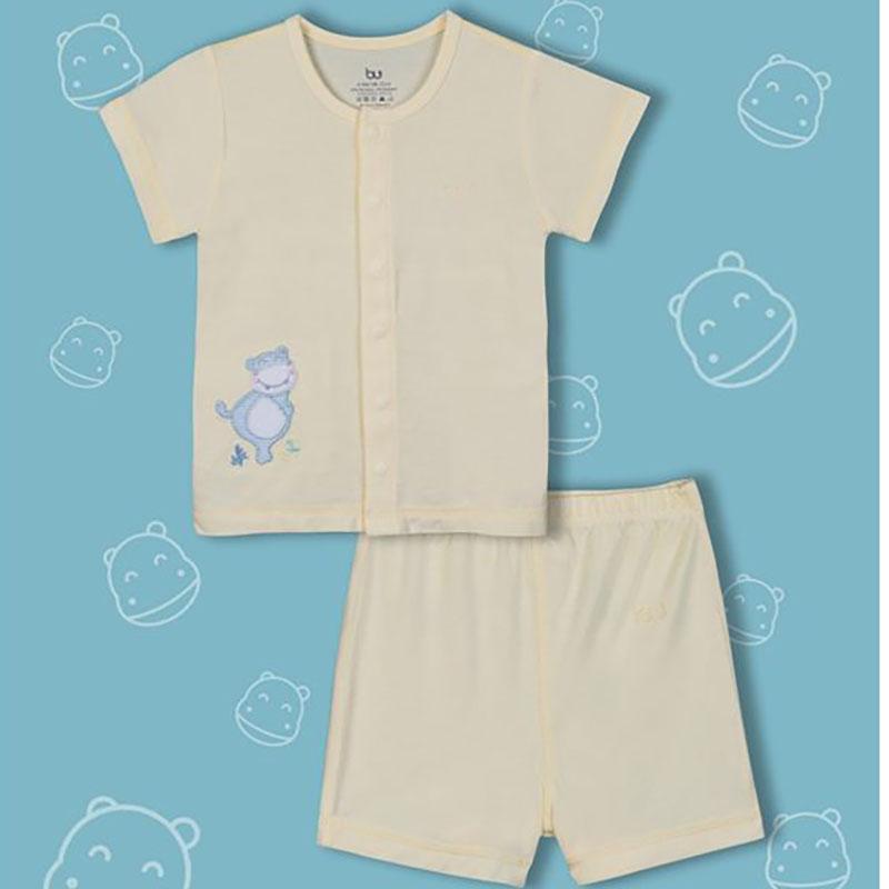 BB010. yellow- Set đồ đùi tay ngắn cúc giữa cho bé- Bu