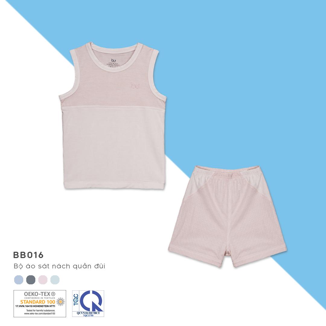 BB016.Pink- Bộ đồ ba lỗ cho bé- Bu