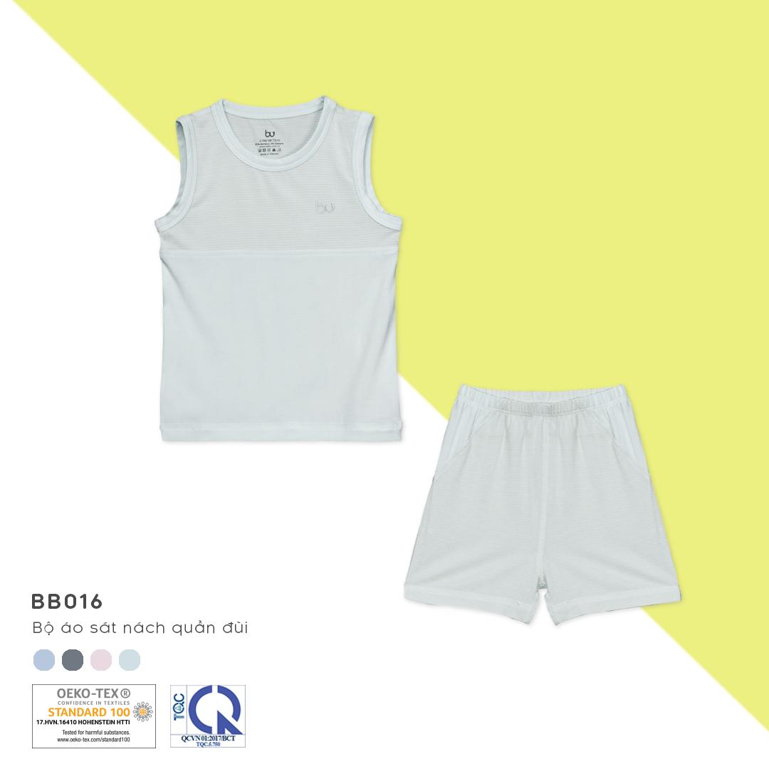 BB016.white- Bộ đồ ba lỗ cho bé- Bu