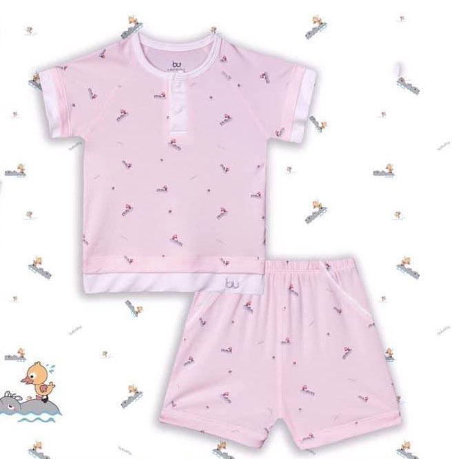 BB032.Pink- Bộ áo cổ trụ cộc tay quần đùi - Bu
