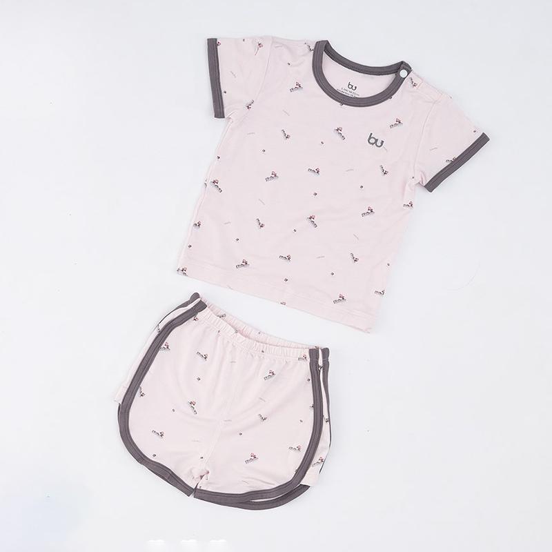 BB035.1 - Bộ quần áo Bu cộc tay cài vai quần đùi - Trắng