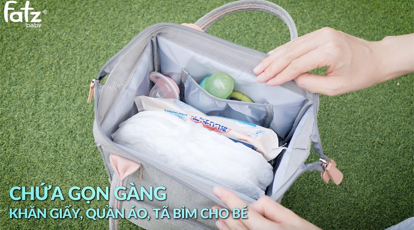 Ba lô bỉm sữa có kết hợp túi bảo quản bình sữa Fatzbaby - Multifit - FB2020SL