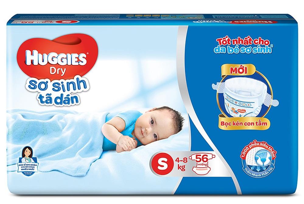 Bỉm - Tã dán Huggies size S - 56 miếng (Cho trẻ 4 - 8kg)