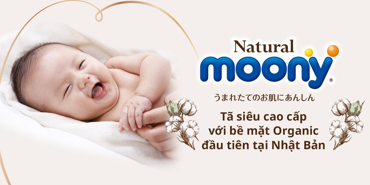 Bỉm - Tã dán Moony Natural Newborn 63 miếng (Dưới 5Kg)