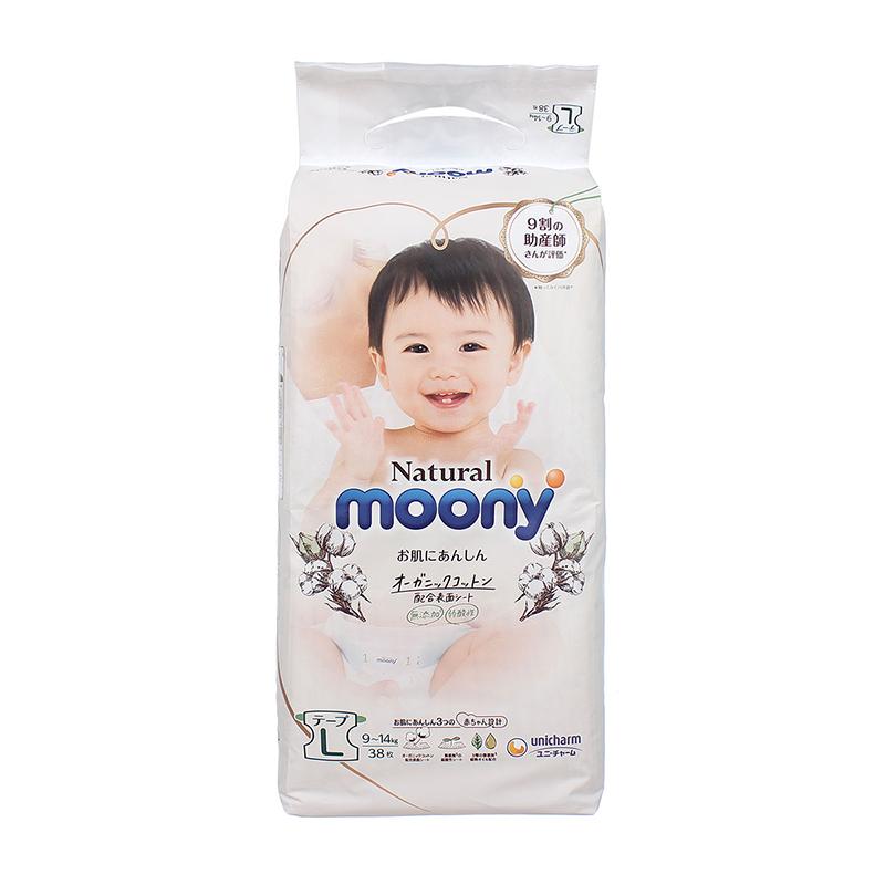 Bỉm - Tã dán Moony Natural Size L 38 miếng (9-14Kg)