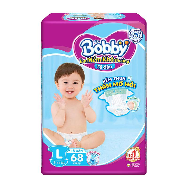 Bỉm - Tã dán Bobby Fresh Siêu Mỏng Size L - 68 miếng (9 - 13kg) | Bỉm Bobby - Tã Bobby | moby.com.vn