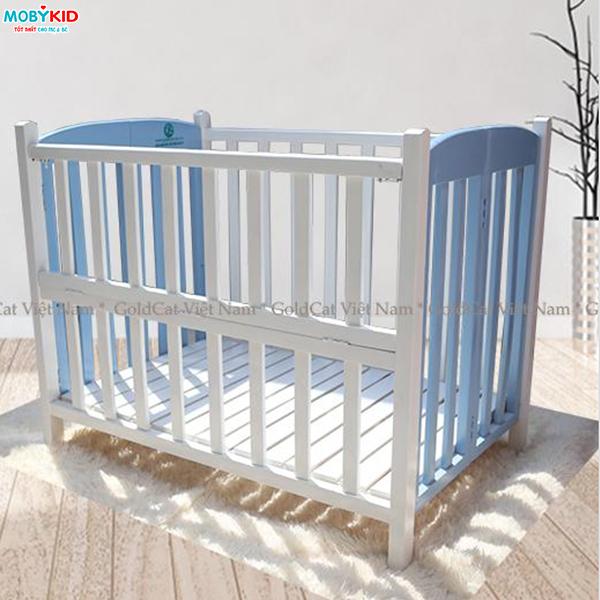 Cũi giường sơn Trắng Xanh GoldCat (120×80×87)