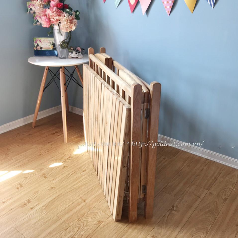 Cũi gỗ Sồi trẻ em GoldCat (110×70×86)