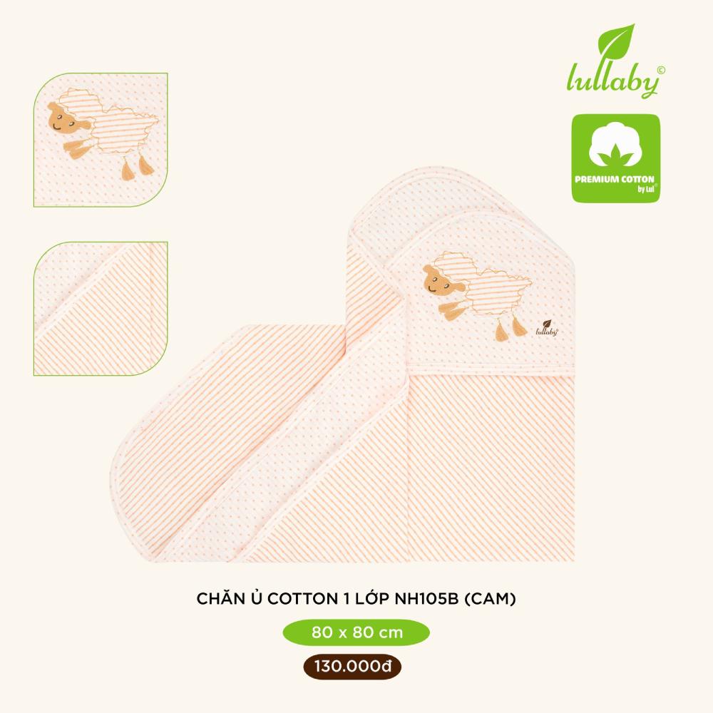 Chăn ủ cotton 1 lớp Lullaby 80x80 cm NH105B - Cam