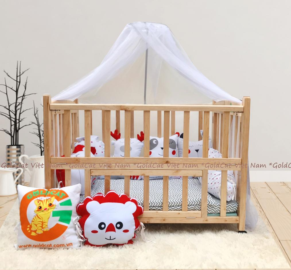 Combo cũi giường 2 giát - Quây gối thú (Đỏ, Màu Gỗ)