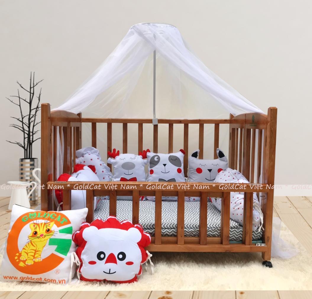 Combo cũi giường 2 giát - Quây gối thú (Đỏ, Sơn Cánh Gián)