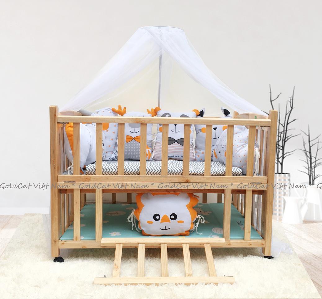 Combo cũi giường 2 giát - Quây gối thú (Cam, Màu Gỗ)