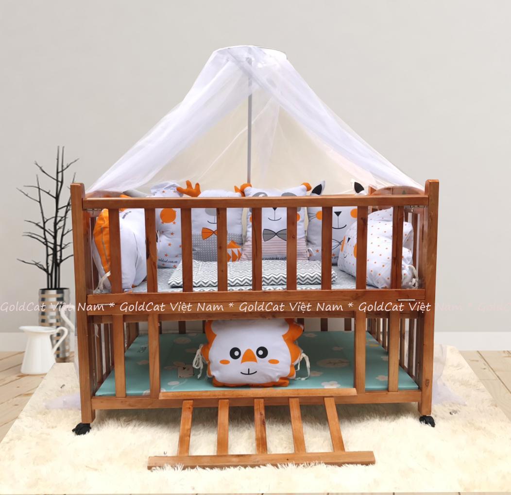 Combo cũi giường 2 giát - Quây gối thú (Cam, Sơn Cánh Gián)