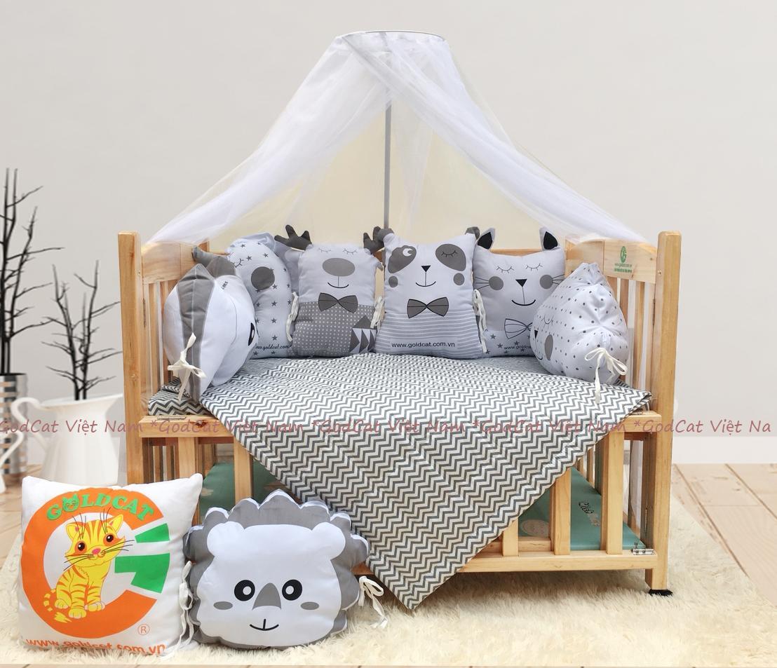 Combo cũi giường 2 giát - Quây gối thú (Ghi, Màu Gỗ)