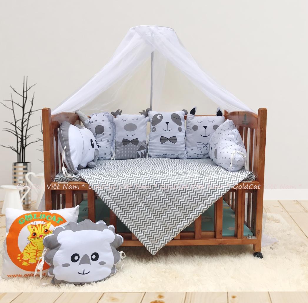 Combo cũi giường 2 giát - Quây gối thú (Ghi, Sơn Cánh Gián)