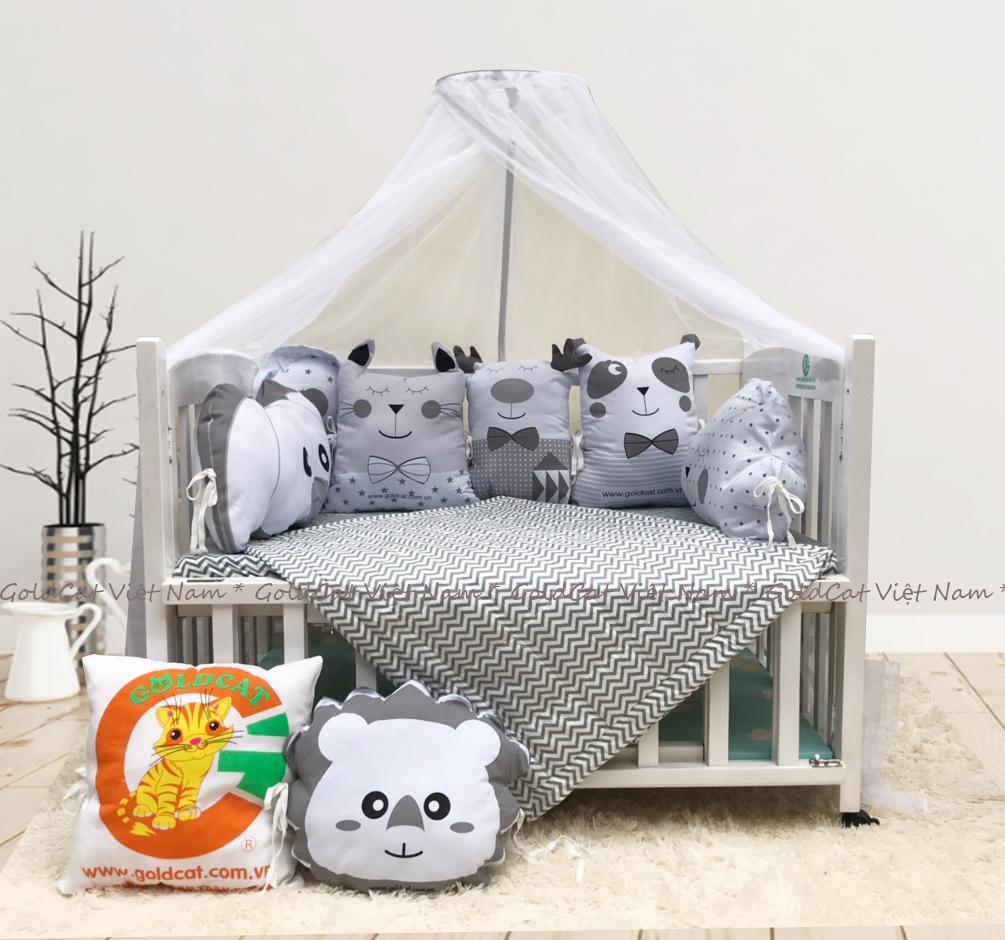 Combo cũi giường 2 giát - Quây gối thú (Ghi, Sơn Trắng)