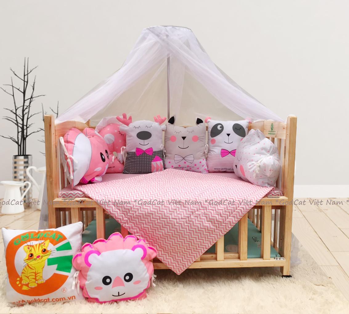 Combo cũi giường 2 giát - Quây gối thú (Hồng, Màu Gỗ)