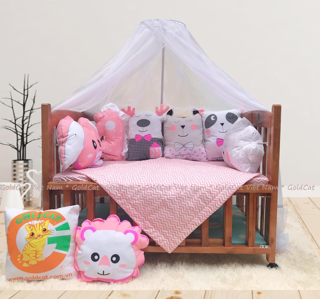 Combo cũi giường 2 giát - Quây gối thú (Hồng, Sơn Cánh Gián)