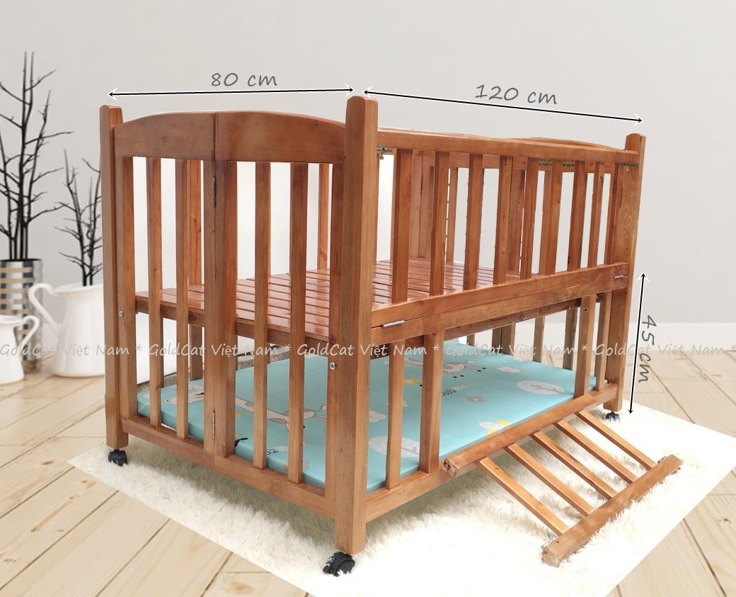 Combo cũi giường 2 giát - Quây gối thú (Xanh, Sơn Cánh Gián)