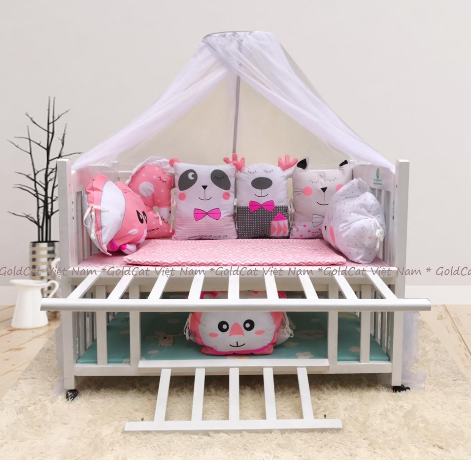 Combo cũi giường 2 giát - Quây gối thú (Hồng, Sơn Trắng)