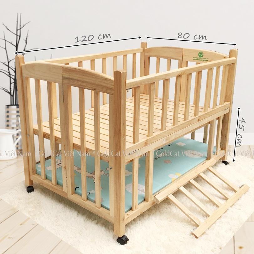Combo cũi giường 2 giát - Quây gối thú (Xanh, Màu Gỗ)